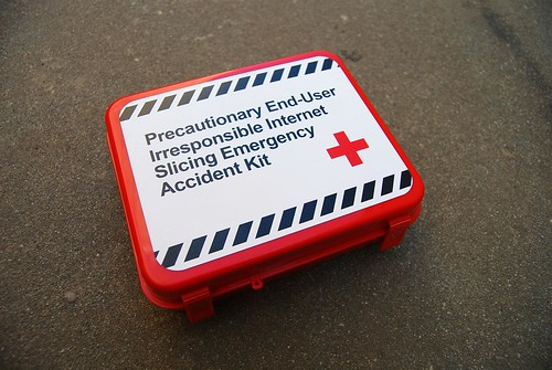 Precautionary End-User Irresponsible Internet Slicing Emergency Accident Kit (Flickr photo by Long Zheng)