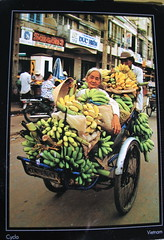 Postcard From Vietnam. Woman Rides A Cycle In Ho Chi Minh City, original photographer Radhika Chalasani, photo © 2008 by QuoinMonkey. All rights reserved.