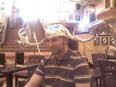 Jared at the Hard Rock Cafe, embarrassed.
