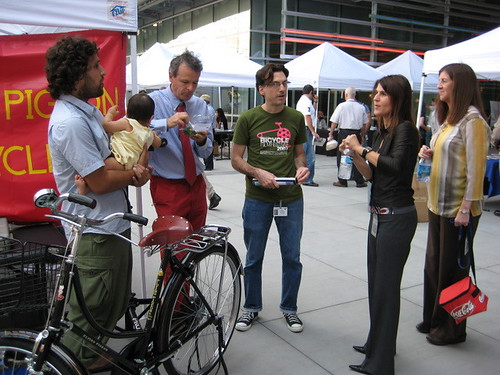Talking bikes at the Flying Pigeon booth at Caltrans Rideshare Fair 2008