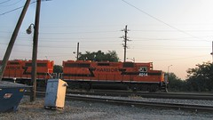 Orange IHB roadswitchers between switching or transfer assignments. Argo Yard. Summit Illinois. September 2008.