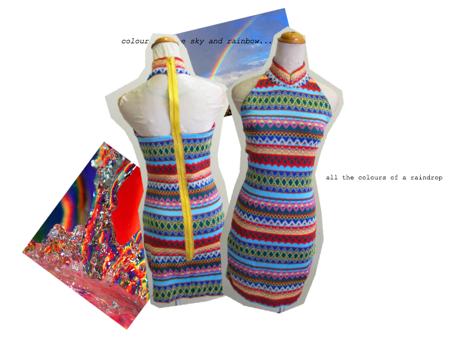 knitted rainbow cheongsam