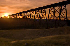 High Level Bridge, Lethbridge (sminky_pinky100 (In and Out)) Tags: travel sunset canada landscape steel railway structure alberta canadianpacific lethbridge highlevelbridge blueribbonwinner personalbest bouncingball abigfave omot awesomestructures crystalaward eyejewel naturessilhouettes betterthangood amazingalberta