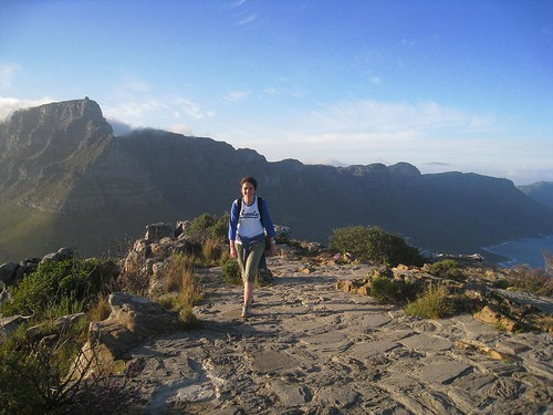 Christel atop Lion's Head with Table Mountain in the background