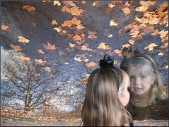 Beautiful reflection (picture_them_perfect) Tags: trees portrait reflection fall water girl leaves photoshop photo manipulation fantasy childrens enchanted