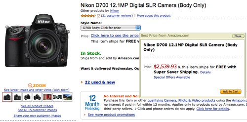 October 2008 -- new, reduced price for the Nikon D700 at Amazon.com