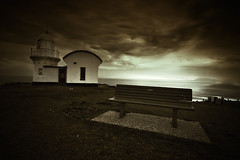 Take A Seat.. (Mark-of-Cain) Tags: sky cloud lighthouse sepia canon seat sigma australia nsw 1020 portmacquarie tackingpoint 40d