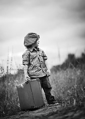 Isaiah ({amanda}) Tags: boy cute hat spring afternoon child mykid 85mm overcast naturallight 3years suitcase threeyears amandakeeysphotography