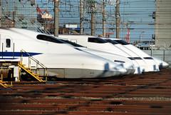 Shinkansen Bullet Trains in Oi Rail Yard