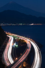Light STREAM with Mt.FUJI (whc7294) Tags: nightshot mtfuji 2470mmf28 2470mm28 10faves さった峠 aplusphoto 東名高速 superhearts lunarvillage artistsoftheyear platinumheartaward nikond300 国道1号