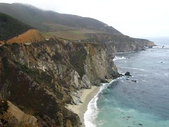 Not an Easy Beach to Reach (AntyDiluvian) Tags: california cliff mountains beach coast surf driving gloomy cloudy bigsur highway1 mountainside californiatrip hillside coasthighway 5photosaday cabrillohighway september2008 canona650