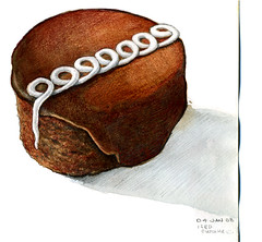 Drawing-A-Day: January 4th (redmeg8) Tags: food art illustration pencil watercolor painting dessert yummy artist chocolate eat cupcake icing illustrator edible coloredpencil saic drawingaday sketchaday medicalillustrator alltaglich artbookklub