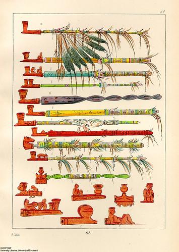 015-Pipas y cazoletas para fumar tabaco-George Catlin 1841