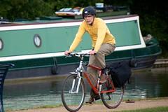 Cyclist on the towpath (Adrian Court LRPS) Tags: boats cyclist miltonkeynes towpath grandunioncanal narrowboats campbellpark