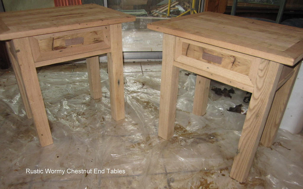 Rustic Wormy Chestnut Bed End Tables 2