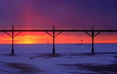 Winter Sunset (Blackmantis (R.L.Black)) Tags: sky sun snow black cold color ice beach clouds mantis landscape cool warm indiana excellent michigancity blackmantis ronaldblack rlblack blackunderscore