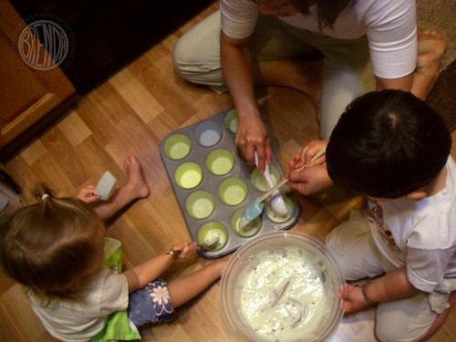 making muffins on the floor