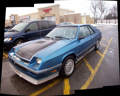 A Dodge Shelby Charger... (Steve Brandon) Tags: auto winter autostitch snow ontario canada car collage composite geotagged parkinglot automobile widescreen hiver ottawa voiture turbo shelby suburb neige chrysler nepean musclecar stripmall dodgecharger daimlerchrysler stationnement  seafoodrestaurant onefishtwofish foodbasics   carrollshelby merivaleroad shelbycharger  merivalerd colonnadepizza ruemerivale cheminmerivale   dodgeshelbycharger shelbydodgecharger lbody dodgeomni024