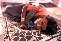 Woman with AIDS in hospital. India