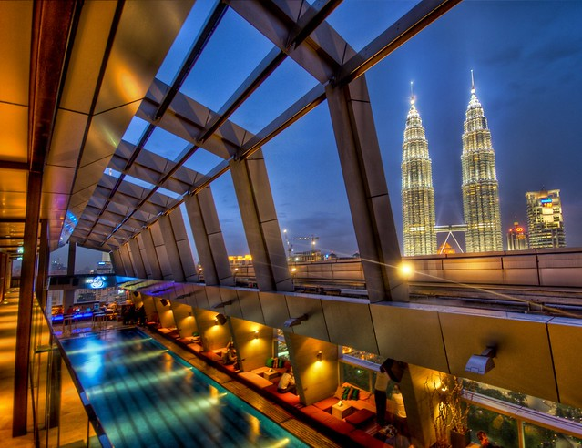 The Sky Bar in Kuala Lumpur with a view of Petronas high dynamic range HDR Photography inspiration and tutorial in Photoshop