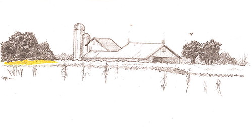 Pencil Sketch - Barn & Cornfield
