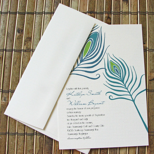 Peacock Feathers Painting On Wedding Invitations