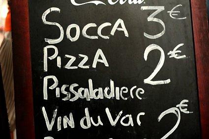 socca, pizza, pissaladiere, wine
