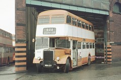 Another rainy day in Bolton. (Lady Wulfrun) Tags: bus buses manchester garage lancashire bolton depot greater northern leyland 522 lancs gmpte selnec 6629 halfcab blenheimroad pd3 sungloworange nbn437