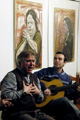 Flamenco passion, Sevilla  Rob Watkins 2006 (Aland Rob) Tags: people music playing club painting sevilla spain hands sitting hand singing emotion guitar expression live chest seville andalucia spanish sing sit singer string sat pick seated clap flamenco picking rhythm pluck splayed carbonera photographrobwatkins
