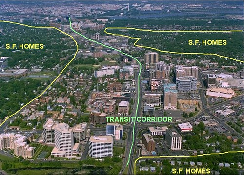 Arlington's Rosslyn-Ballston transit corridor and preserved single-family neighborhoods (underlying image courtesy Reconnecting America; text by me)