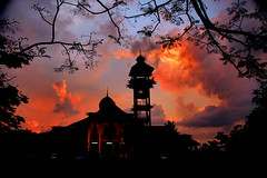 kIMG_7038 (Sam's Exotic Travels) Tags: trees sunset colors gold muslim frame sultan brunei darussalam secondwife pengiranisterihjhmariammosque