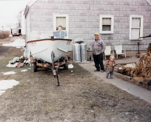 Checking out Uncle Chet's boat, 1985.