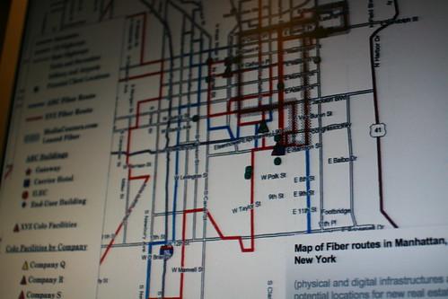 Map of fiber routes in Manhattan