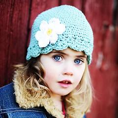 Daisy Flapper Beanie - seaspray, yellow, white (pdxbeanies) Tags: blue flower cute green girl hat kids turquoise girly teal crochet yarn cotton daisy flapper beanie seaspray childrensbeanie