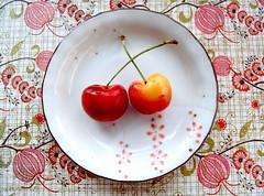 silly love songs (sevenworlds16) Tags: summer floral breakfast paper strawberry cherries pattern dish porcelain ranier daiso kombucha