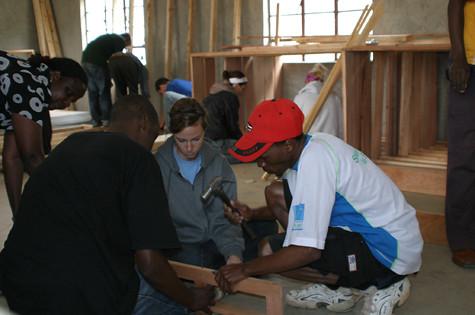Building bunk beds in Narok