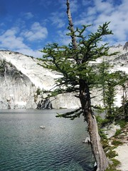 Larch, Perfection Lake, and the waterfall