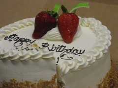 Elma's Favorite Cake for Her Birthday, from Porto's (m kasahara) Tags: cake work strawberryshortcake portos