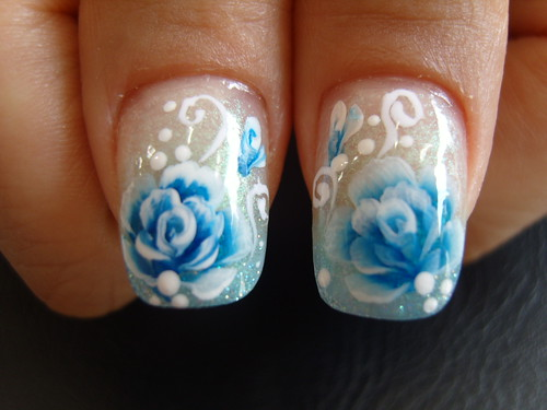 Beautiful blue roses flowers on nail art designs gallery for nails