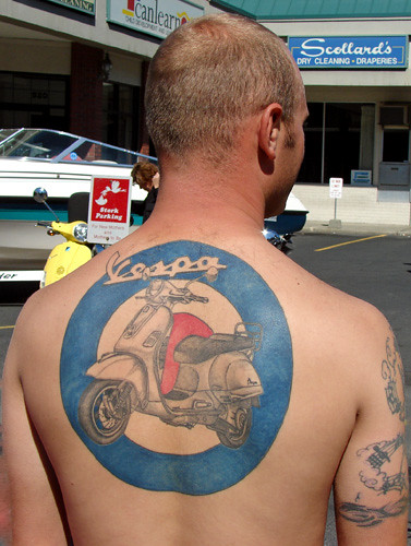 Vespa tattoo - Spokane Scoot 2008. A dedicated member of the Minions Scooter