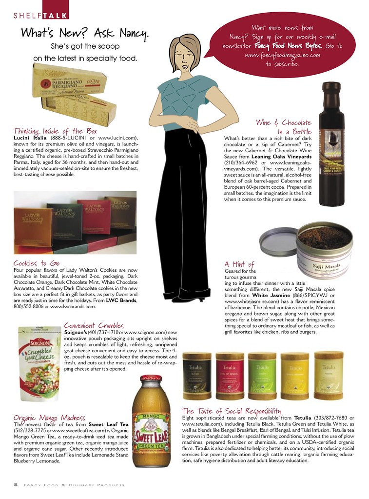 Teatulia in Fancy Foods Magazine.  September, 2008
