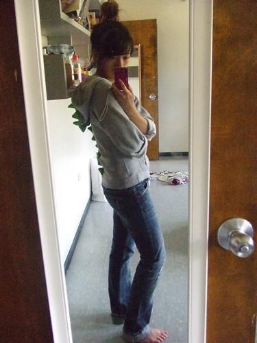 Dinosaur Spiked Hoodie, DIY; Jeans, Armani Exchange