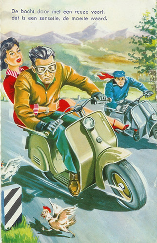 Scooter Racing Couple Postcard