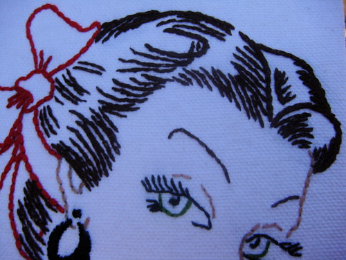 Woman circa 1950 canvas hair