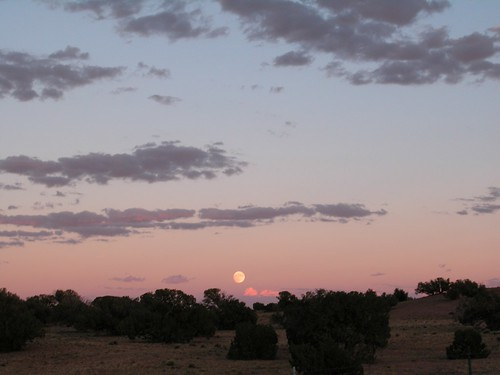 Moon rise over the ranch