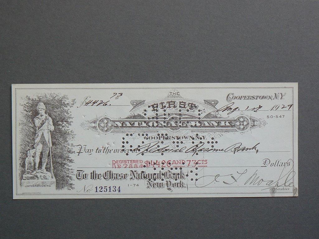 1929 American Cheque Payable to the Federal Reserve (Best Viewed in Large)