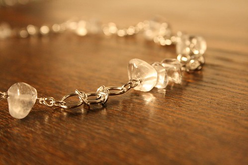 Necklace, silver and clear quartz
