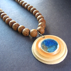 ArtisanClay on Etsy crafting 365 day 19 (artisanclay) Tags: blue brown glass ceramic necklace stainedglass jewelry clay pottery pendant stoneware fused handmadejewelry clayjewelry ceramicjewelry