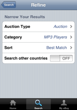 eBay iPhone app refine search