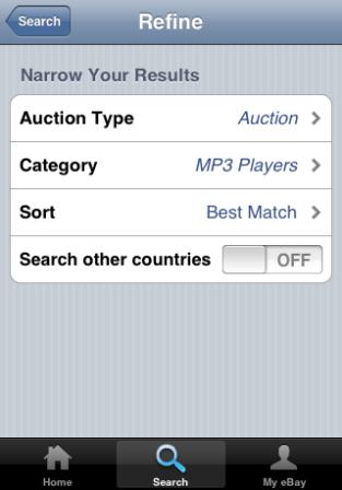 eBay iPhone app refine search